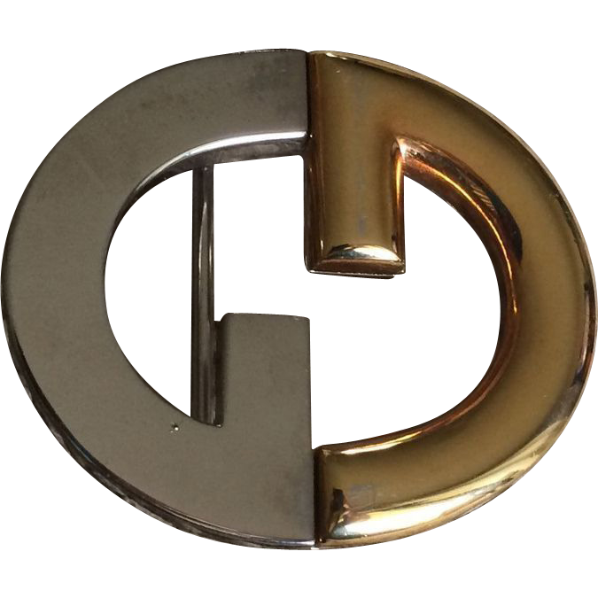 Vintage Gucci Two Toned Signature Belt Buckle