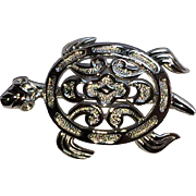 Vintage Trifari silver tone sea turtle pin