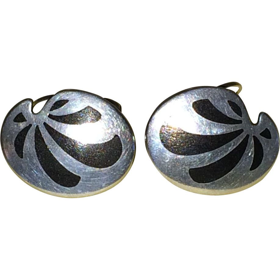 Vintage Kai Erling Feiling of Denmark sterling silver and enamel inlay cufflinks