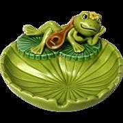 Vintage Josef Original Frog on  Lily Pad