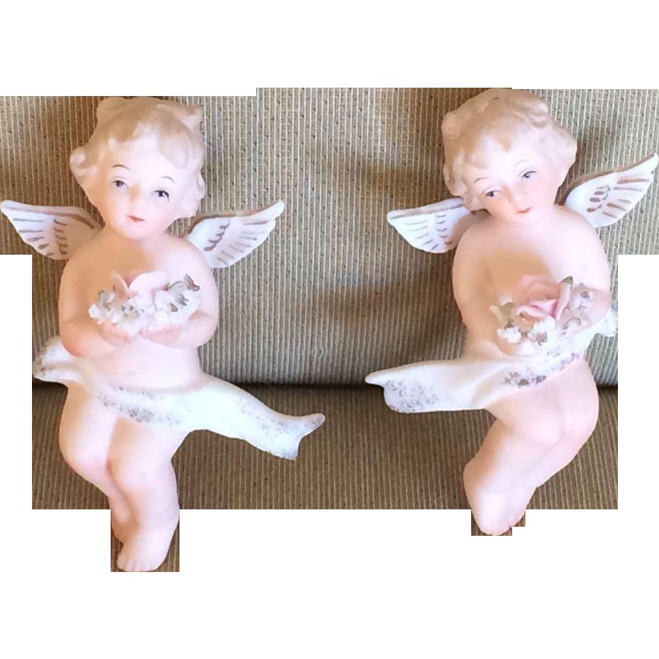 Heavenly Bisque Angels Wall Hangers