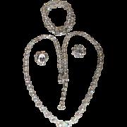 Vintage German Aurora Borealis Crystal 3 Piece Parure