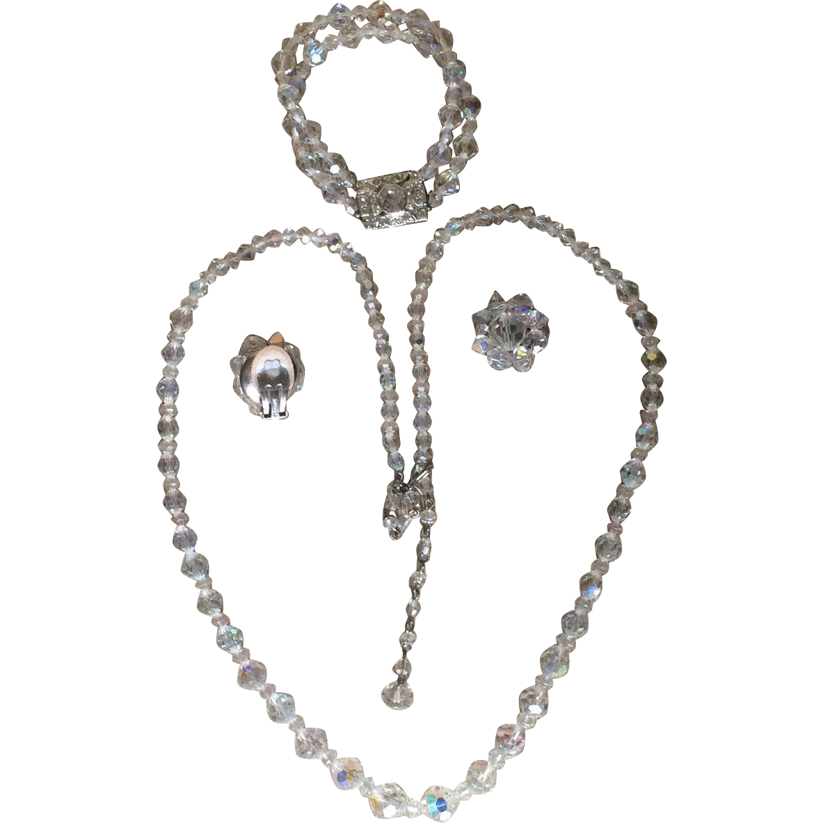 Vintage German aurora borealis crystal 3 piece set