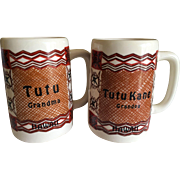 Vintage Pair of Ceramic Hawaiian Tutu Grandmother and TutuKane Grandfather Mugs