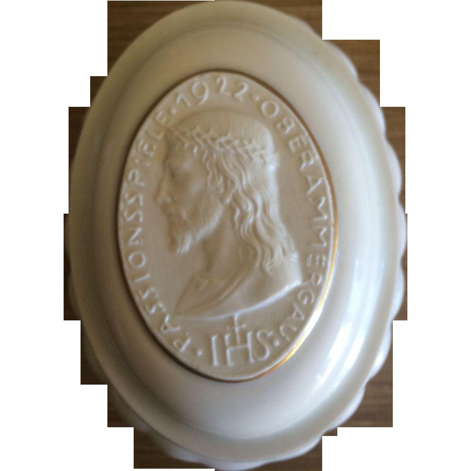 Passionsspiele Oberammergau 1922 Passion Play Commemorative  Hutschenreuther Porcelain Trinket Box