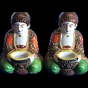 Pair of Japanese moriage miniature Buddhas