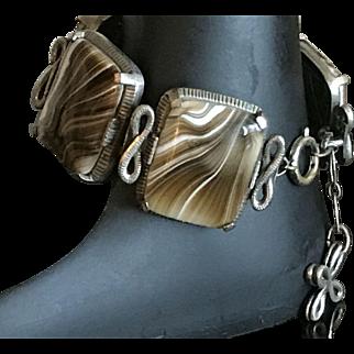 Vintage Faux Agate Swirled Glass Bracelet