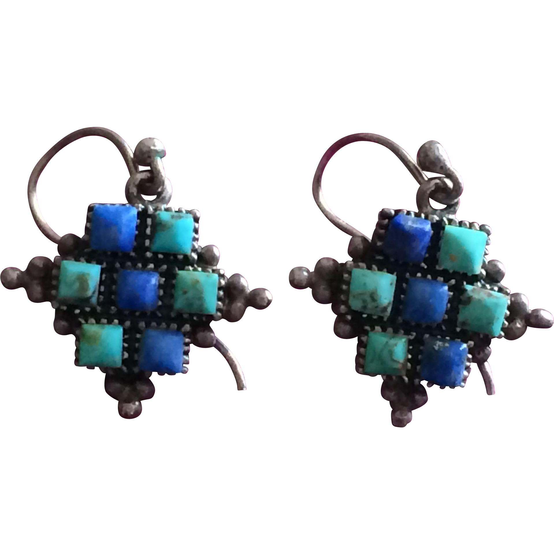 Vintage Southwestern Lapis and Turquoise Silver Cross Earrings