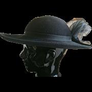 Vintage black wool wide brim hat
