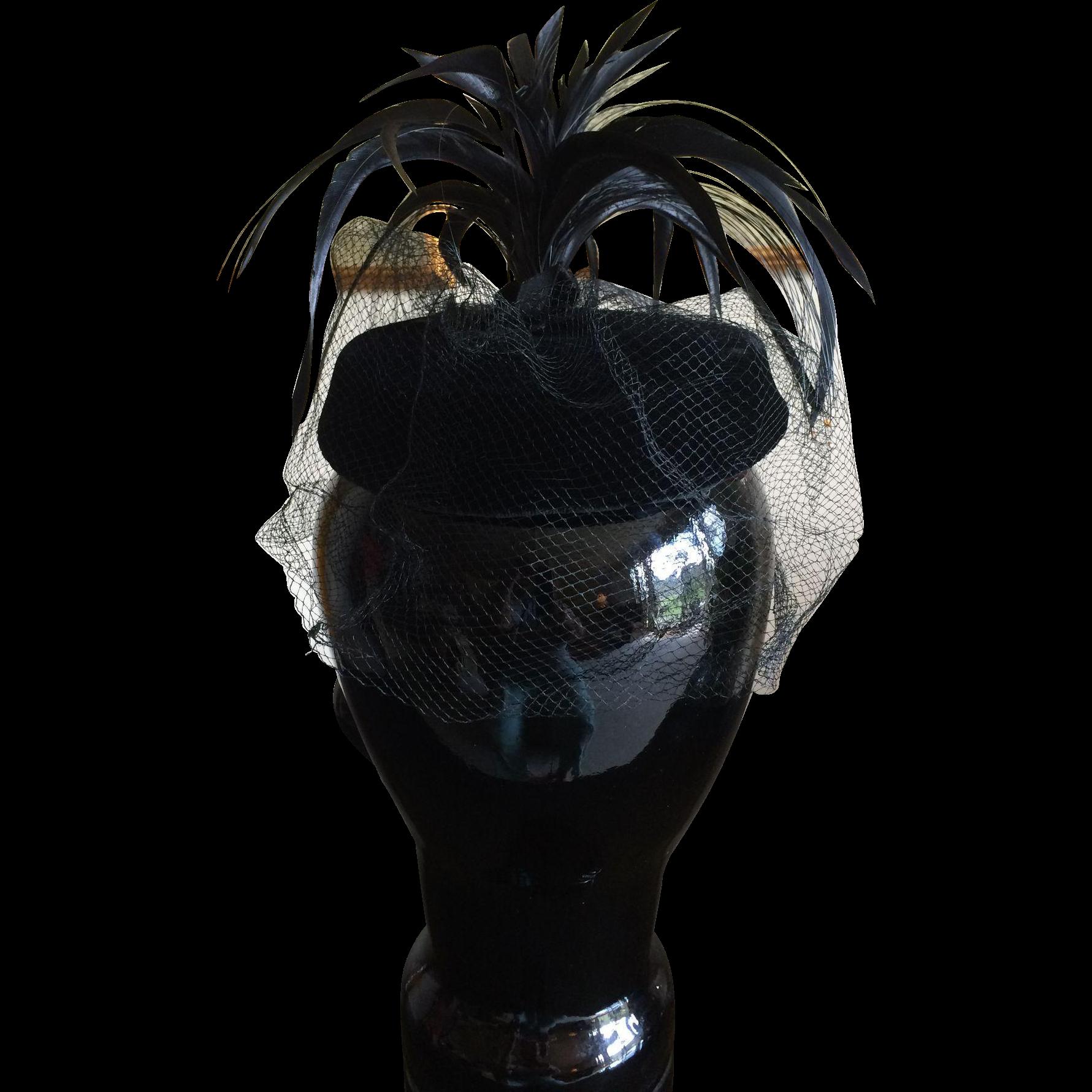 1950s Black velvet feathered veiled Mad Man cocktail hat