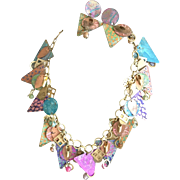 Vintage  Multi Color Artistic Geometric Necklace and Pierced Earring Set