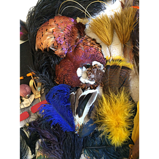 Vintage collection of millinery pieces feathers