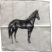 Vintage Switzerland equine horse handkerchief  a. skandia print by Lady Heritage