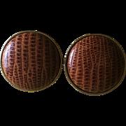 Vintage alligator button style clip op earrings