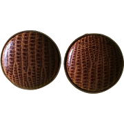 Vintage alligator button style clip op earrings