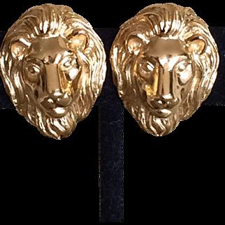 Vintage Trifrari lion head earrings