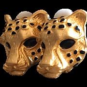 Vintage leopard or panther head earrings