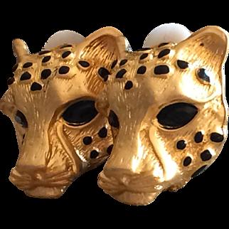 Vintage leopard head earrings