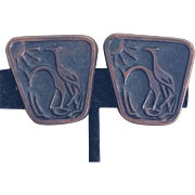 Vintage Danish Modern copper giraffe earrings