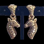 Vintage dangling giraffe earrings