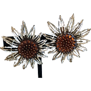Vintage Sunflower clip on earrings Sarah Coventry