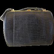 Vintage rare black Grace Kelly style lizard handbag