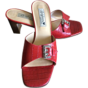 Vintage Brighton Tyler red leather sandals made in Italy