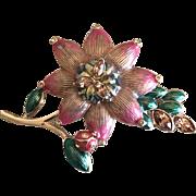 Vintage Monet Enamel and Rhinestone Flower and ladybug Pin