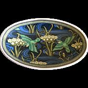 Vintage Takahashi pedestal dish with hummingbird and floral design