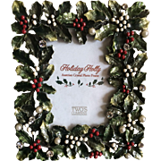 Vintage enamel and Austrian crystal Christmas picture frame