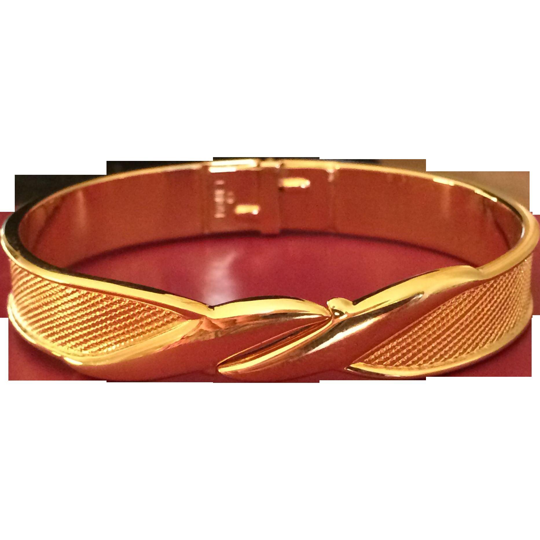 Vintage Monet Gold Tone Clamper Bracelet