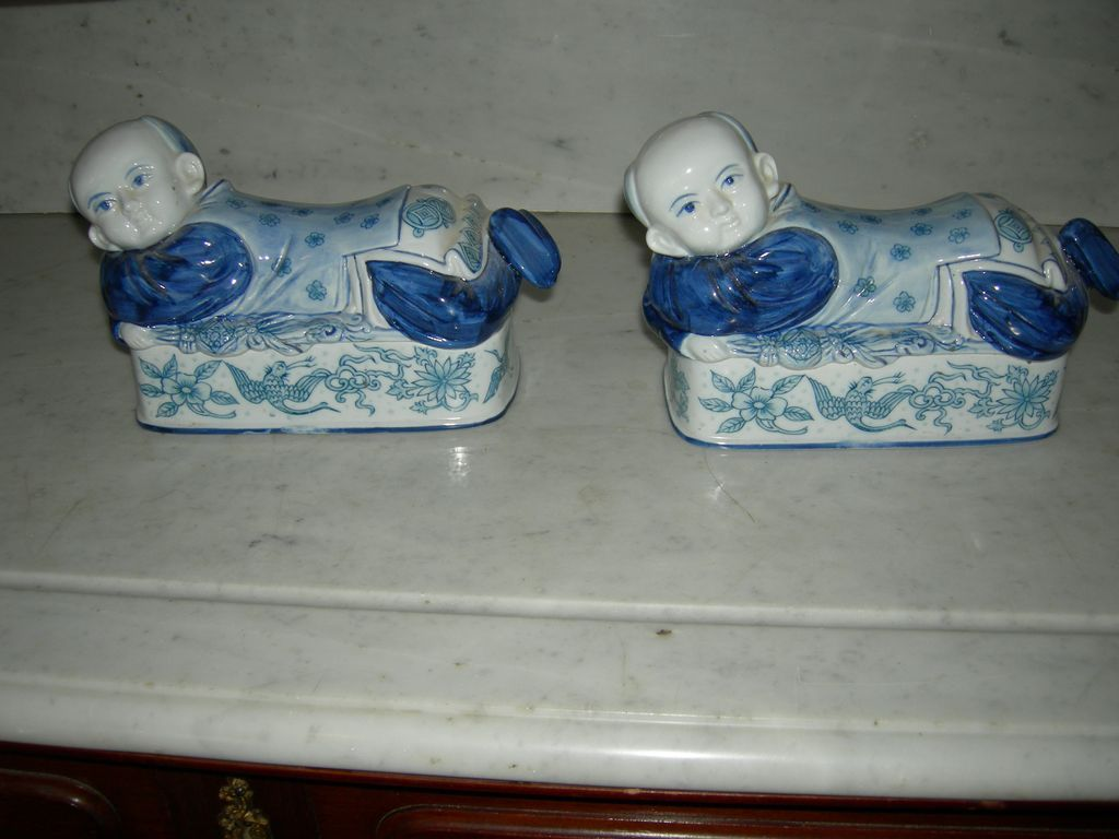 Set of Two Blue Oriental Ceramic Figurines