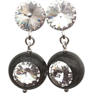 Sterling silver black Polaris Swarovski crystal earrings