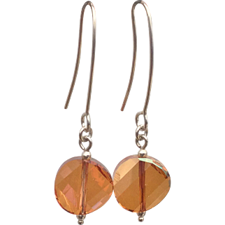 Sterling silver copper Swarovski crystal earrings