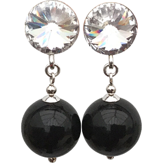 Sterling silver black Swarovski imitation pearl drop earrings