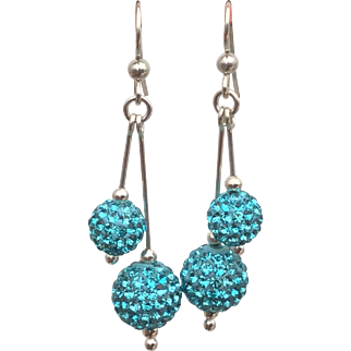 Sterling silver turquoise coloured Shamballa bead earrings