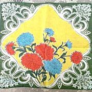 Romantic Ornate Scrolls & Fans Floral Print Hanky