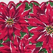 Festive Crimson POINSETTIAS Scalloped Vintage Hanky