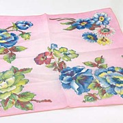 Delicate Soft Pink & Blue Florabunda Print Vintage Hanky