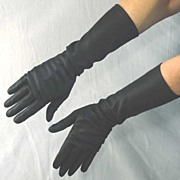 "Sleek Luxurious Vintage HANSEN 15"" Long Nylon Sateen Gloves~Size 7.5"