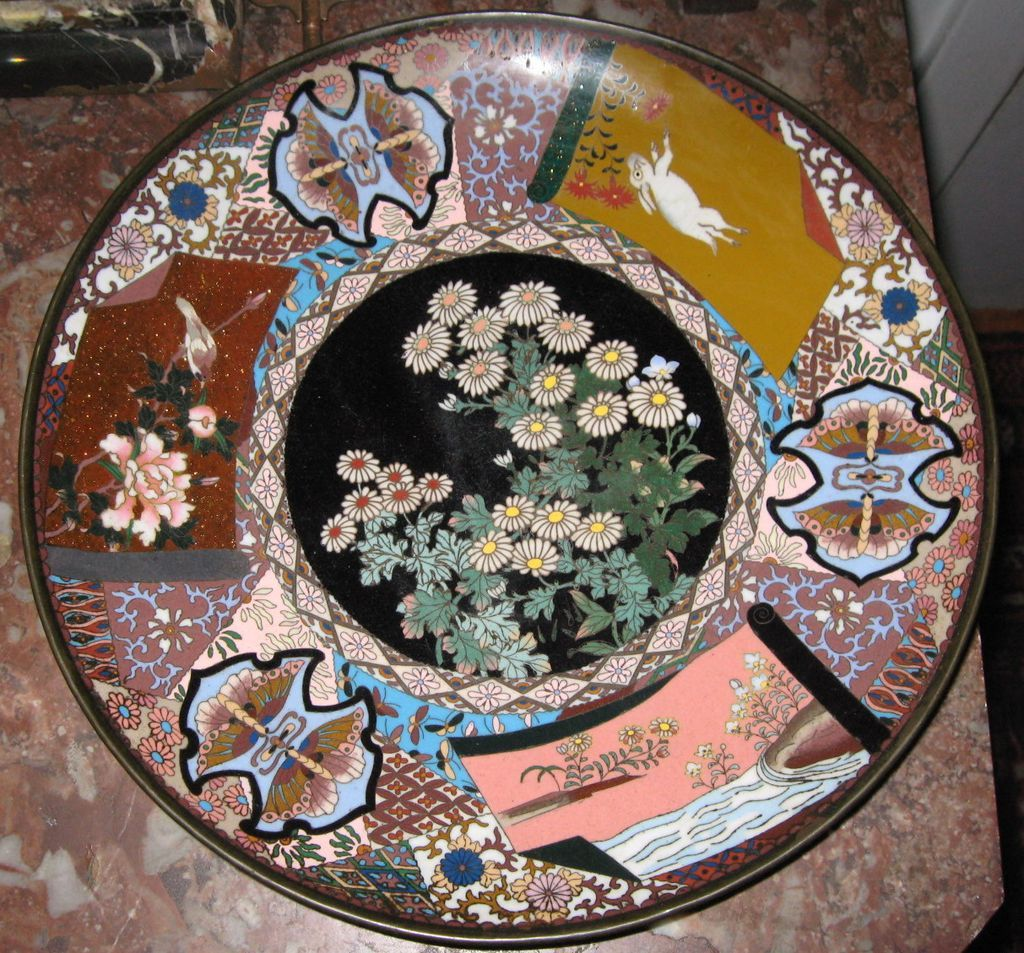 Fine Antique Meiji Era Cloisonne Charger