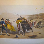 Antique Hand Colored Engraving from La Course de Taureaux