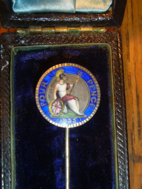 Antique Victorian  Enameled 4 Pence Stickpin