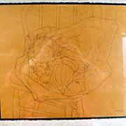 Vintage Pencil Drawing by Isobel Burgess Sanford