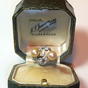 Vintage Retro Natural Pearl & Diamond Platinum Ring