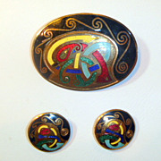 Vintage Vermeil Enamel Celtic Brooch & Earring Set