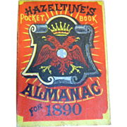 Antique 1890 Hazeltines Almanac 1890