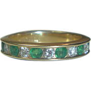 Vintage 14K Gold Diamond & Emerald Ring