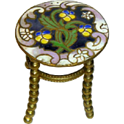19C  Miniature Champleve Gilt Brass Table