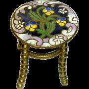 19C  Miniature Champleve Gilt Brass Table